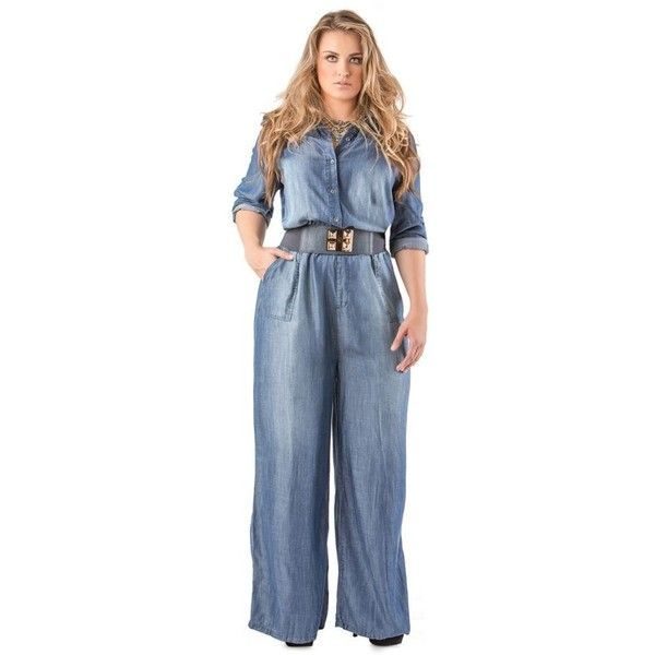 56f054d8631 Standards And Practices Medium Blue Plus Size Wide Leg Tencel Denim...  ( 98) ❤ liked on Polyvore featuring plus size women s fashion