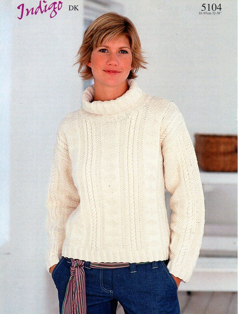 d97dcb6be3b1 womens sweater knitting pattern pdf ladies polo neck roll neck textured  jumper 32-38