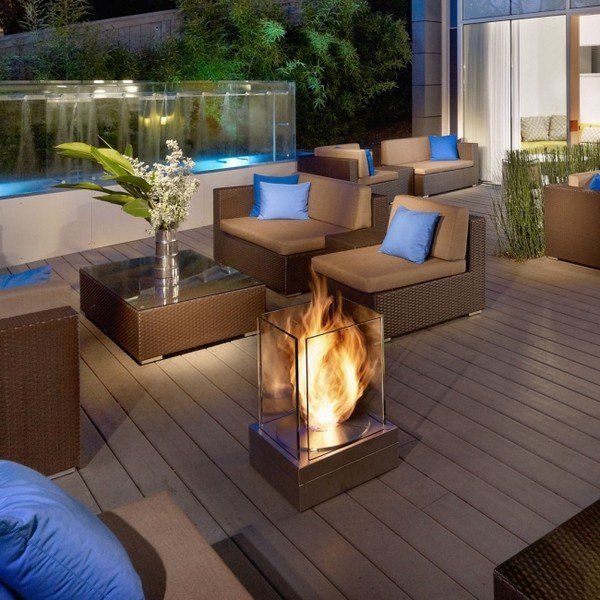 Modern Balcony Decoration Ideas Mobile Fireplace Glass Protection Lounge  Furniture