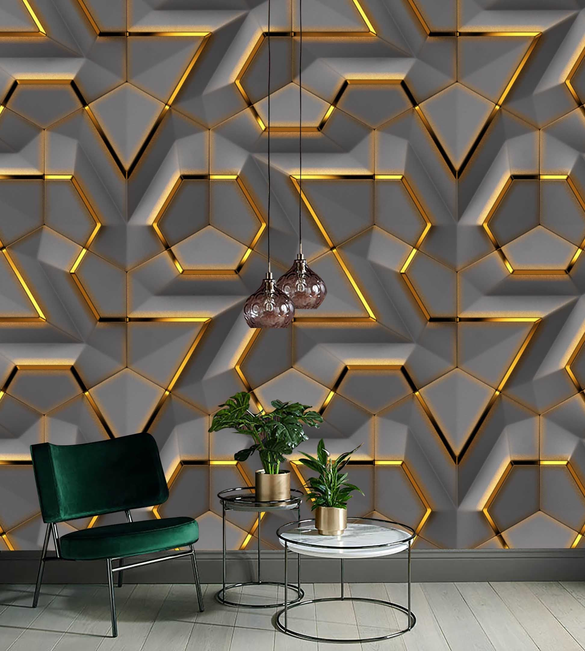Gray Panel Gold Look Decor Geometric Background Wallpaper Self Adhesive Peel And Stick Wall Sticker Wall Decoration Scandinavian Removable Living Room Wall Wallpaper Wall Panel Design Decor