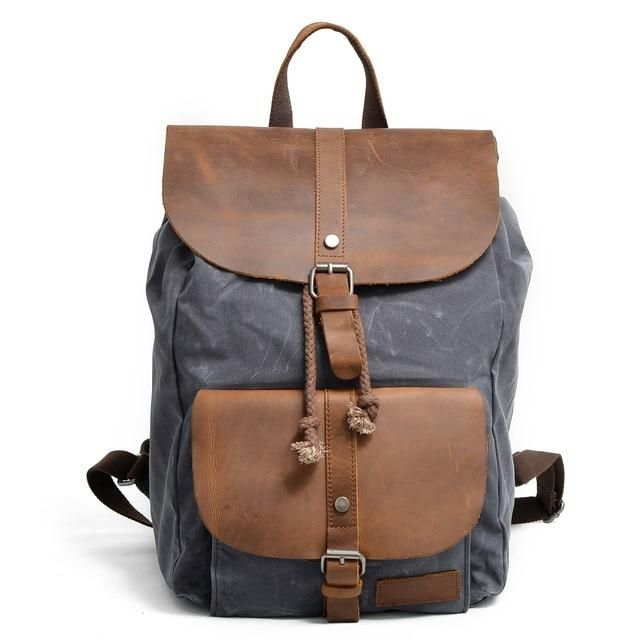 f49b9139696e Waterproof Canvas Leather Laptop Backpacks Casual Travel Daypack ...