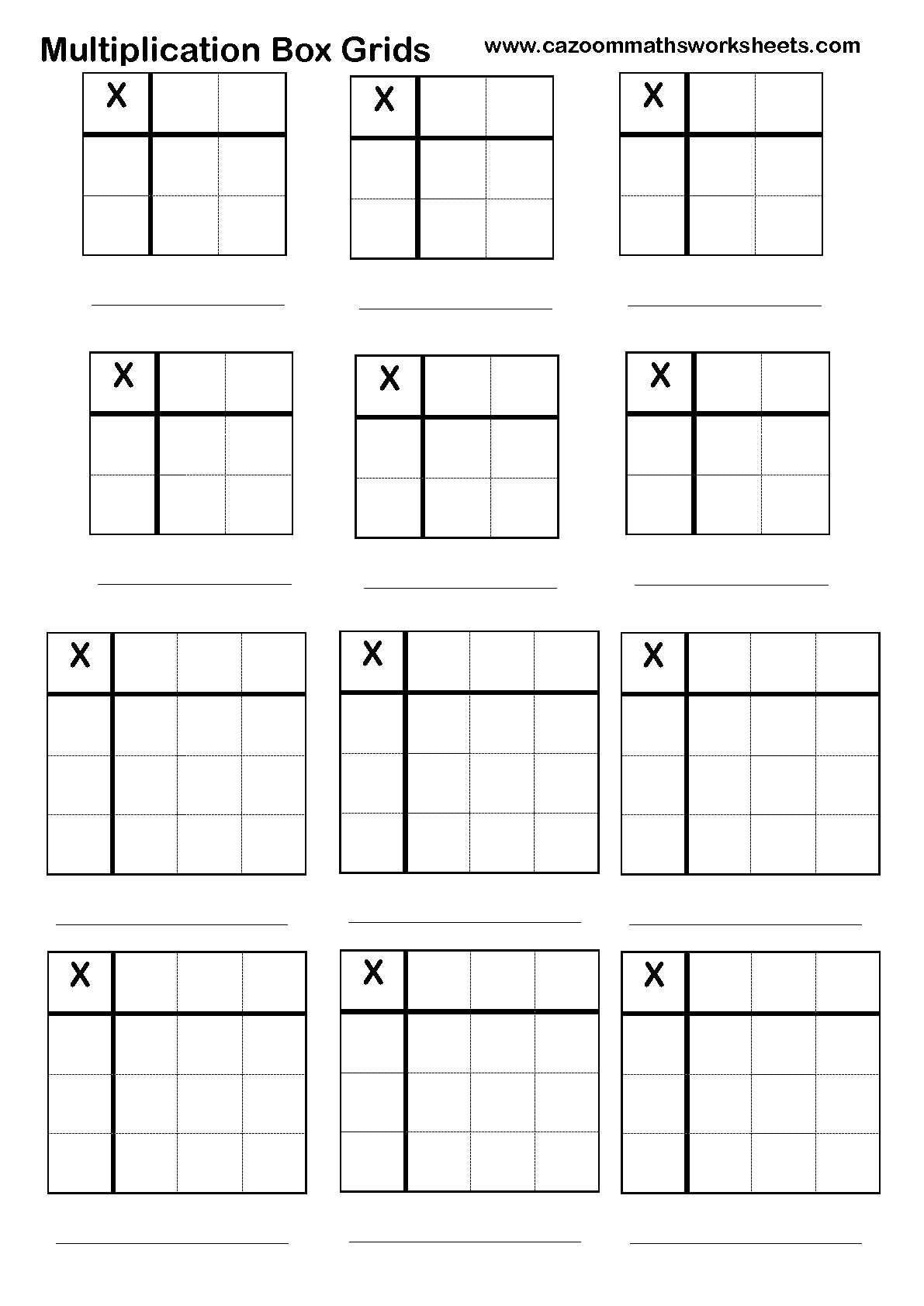 Worksheets Box Method Multiplication Worksheet number resources multiplication math and school box grid help sheet