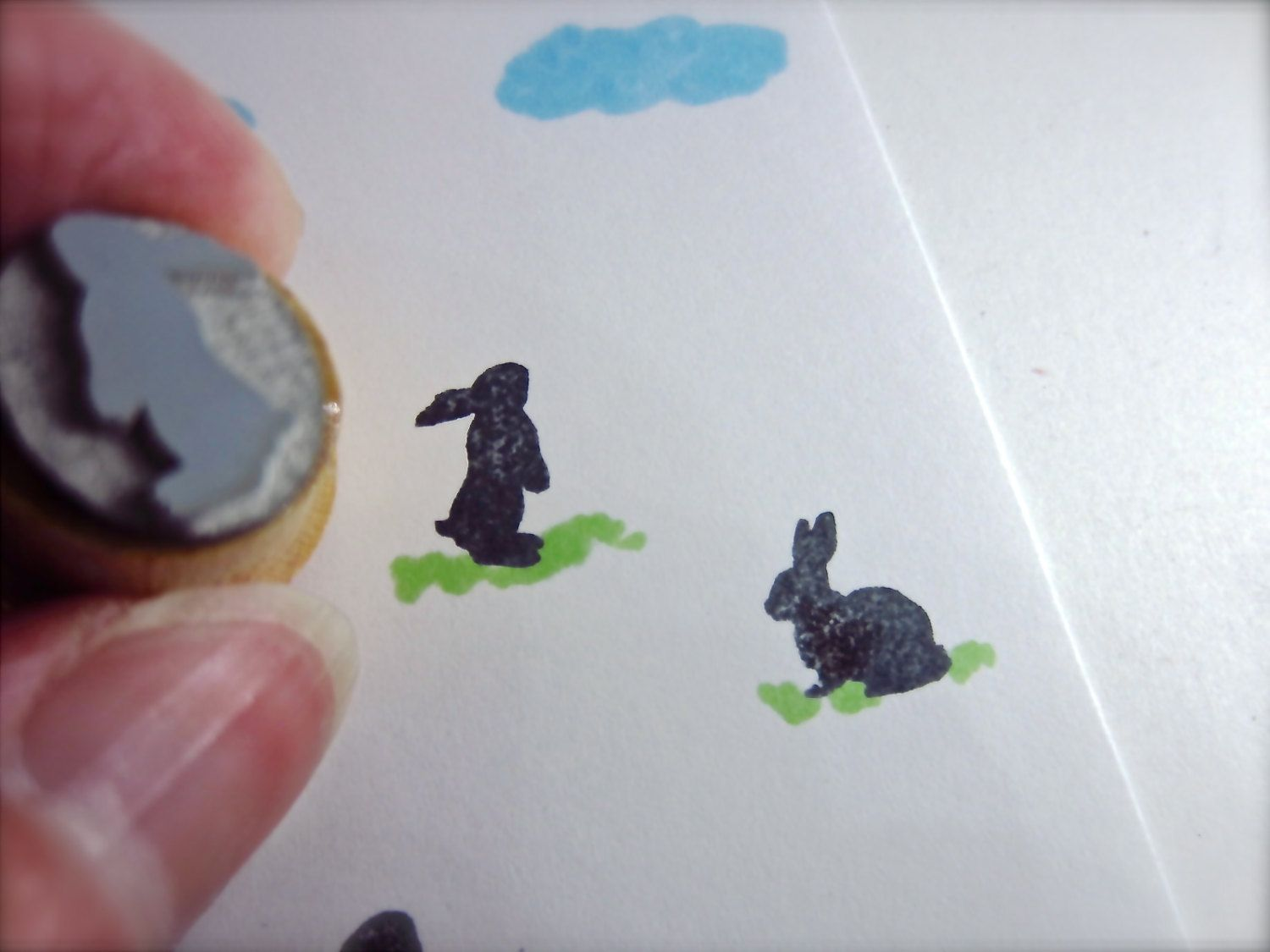 New to etchythings on Etsy: Easter Bunny Standing Curious XS Silhouette Stamp S004 (4.21 USD)
