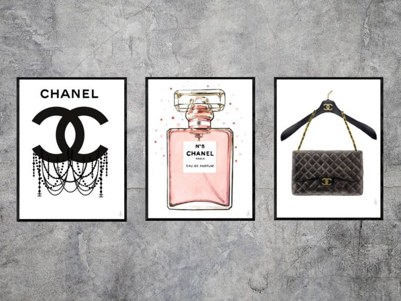 dd9a4153fc756 Set of 3 Chanel illustrations, chanel art, chanel print, fashion ...