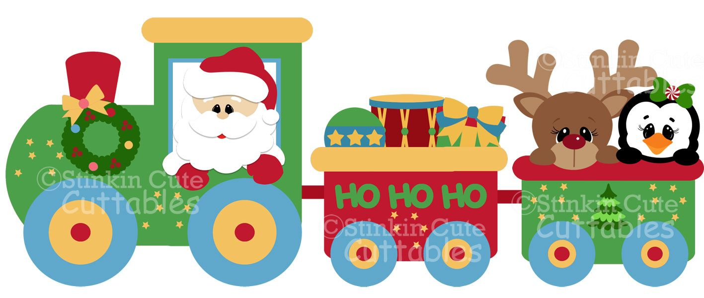 Christmas Train Set Clipart