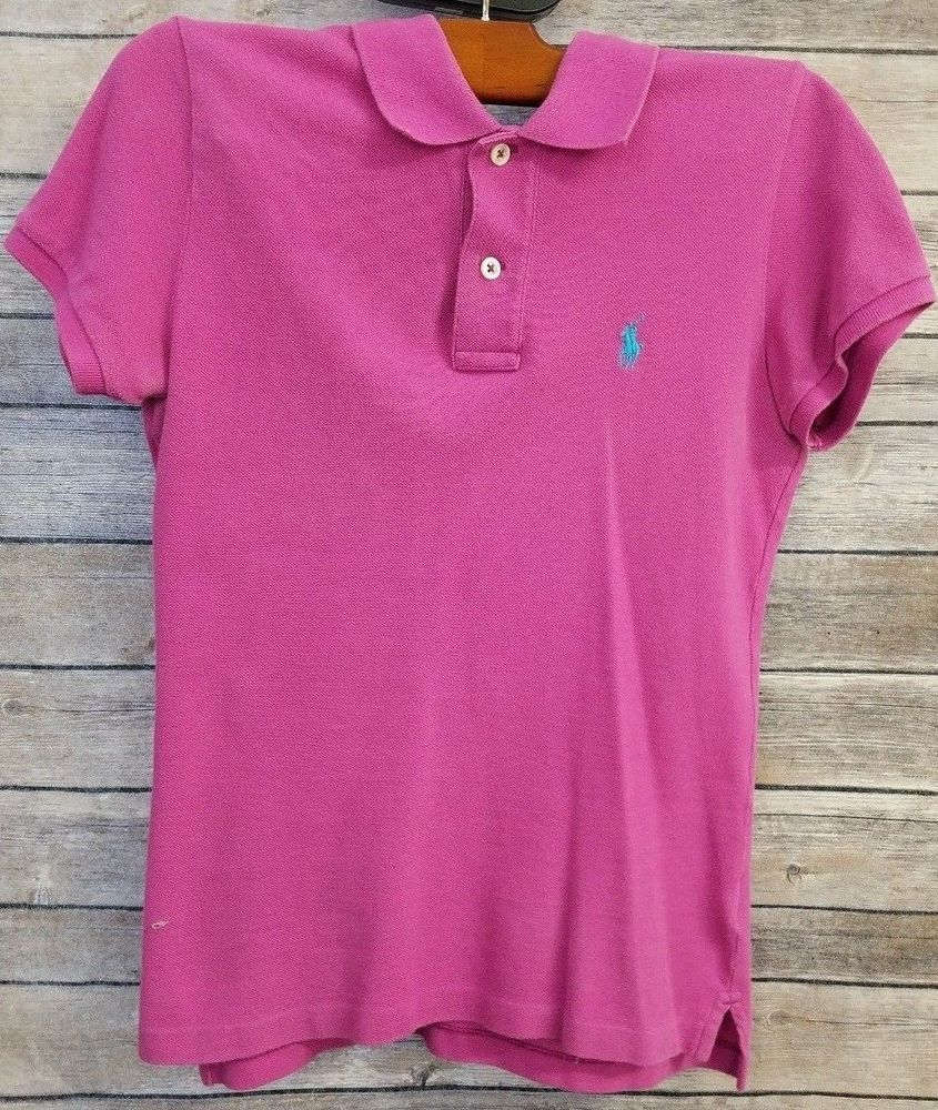 Short Ralph Shirt Pink Small Women's The Skinny Polo Lauren Sz LqGVUzMSjp