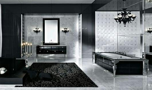 Black Silver Bathroom This Style But With The Pop Of Color From The Lime Herringbone Modern Luxury Bathroom Bathroom Interior Design Bathroom Design Luxury