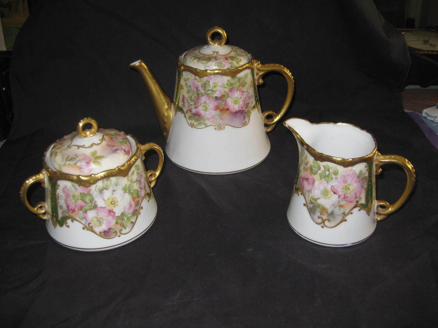 A Beautiful 3 Piece Tea/coffee Or Chocolate Set Of Limoges, France Coronet  Porcelain