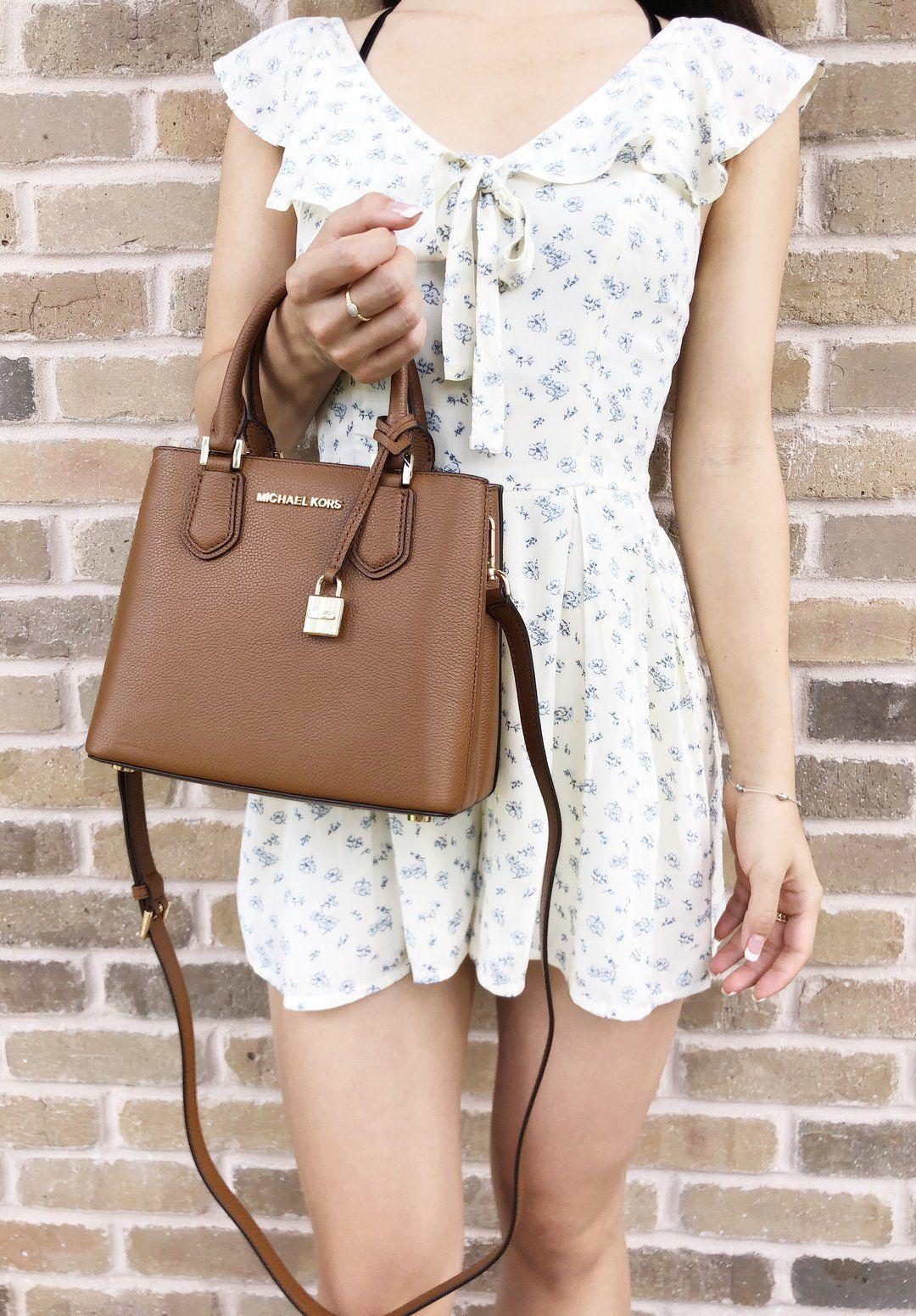 5a8754cc797f Michael Kors Adele Mercer Medium Messenger Bag Luggage - Gaby's Bags
