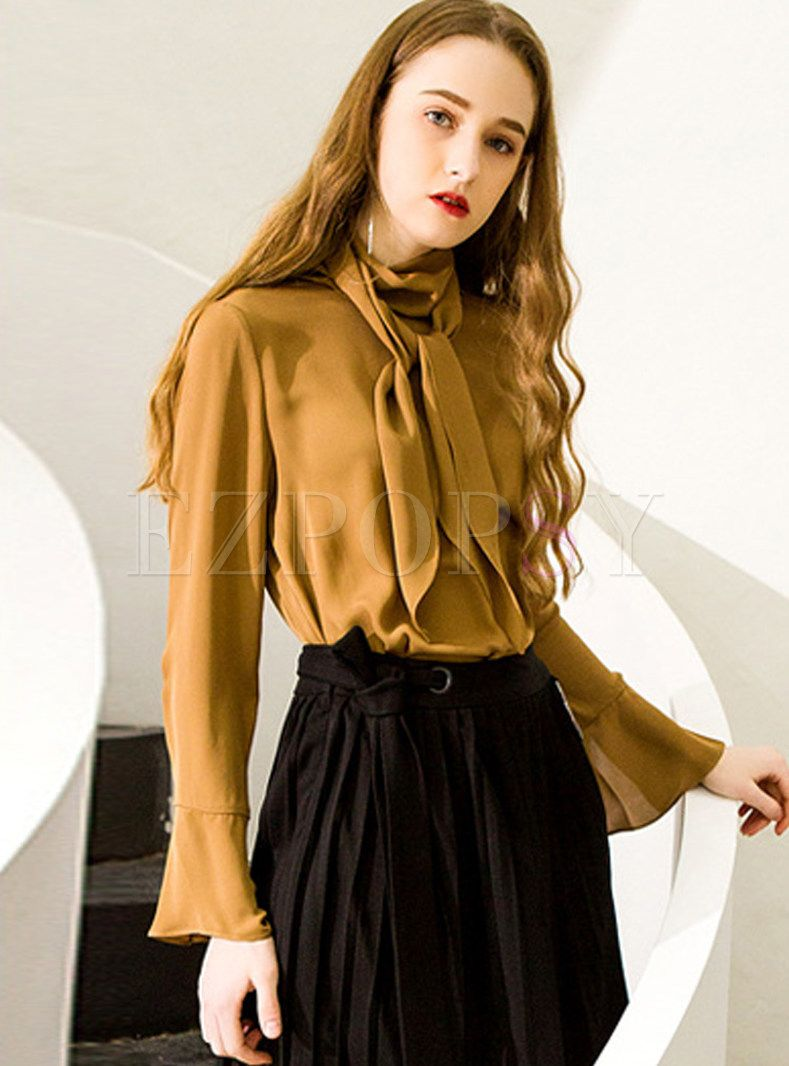 08eb7a9467797 Shop for high quality camel splicing flare sleeve silk blouse online at  cheap prices and discover