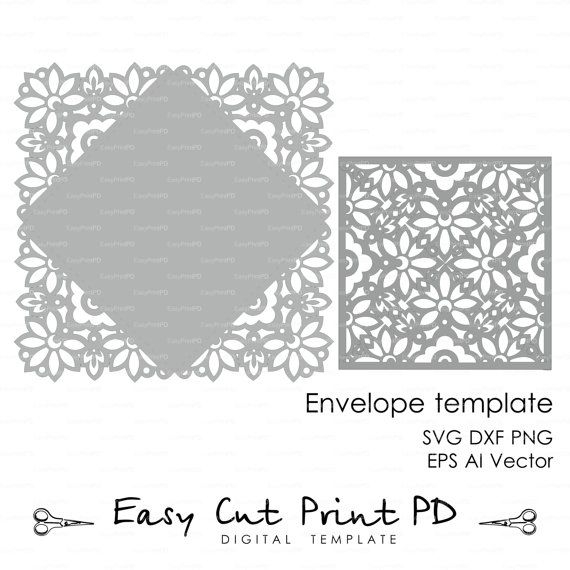 Wedding Invitation Card Envelope Template Lace By Easycutprintpd