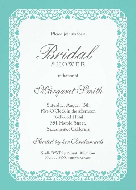 Elegant Aqua Blue Bridal Shower Invitations Personalize Online