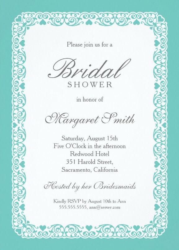 Elegant Aqua Blue Bridal Shower Invitations Personalize