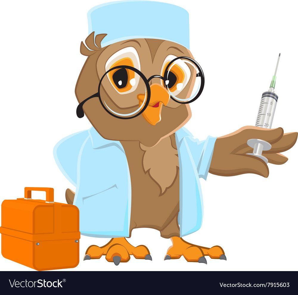 Owl doctor holding syringe Owl veterinarian in vector ...