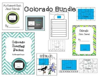This is a set of 10 Colorado themed resources see individual listings and more descriptions by typing in the state name and AJ Bergs in the search engine.  This set includes research books,a travel journal, a reading activity packet, an acrostic poem page and puzzles.