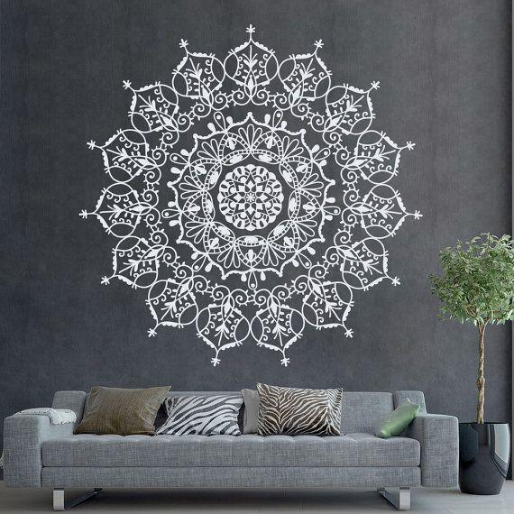 böhmischen indischen muster mandala wall decals florale vinyl, Schlafzimmer entwurf