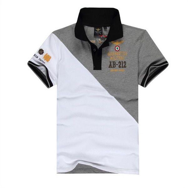 21b810c0f6304d ralph lauren polo outlet Aeronautica Militare AB-212 Short Sleeve Men s Polo  Shirt White Grey