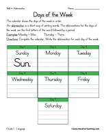 Abbreviation Worksheet – Days of the Week: Monday – Mon., Tuesday ...