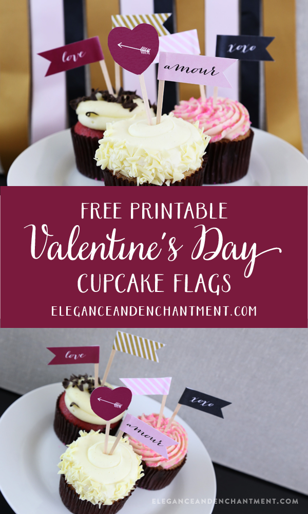 Printable Valentine S Day Cupcake Flags The Group Board On