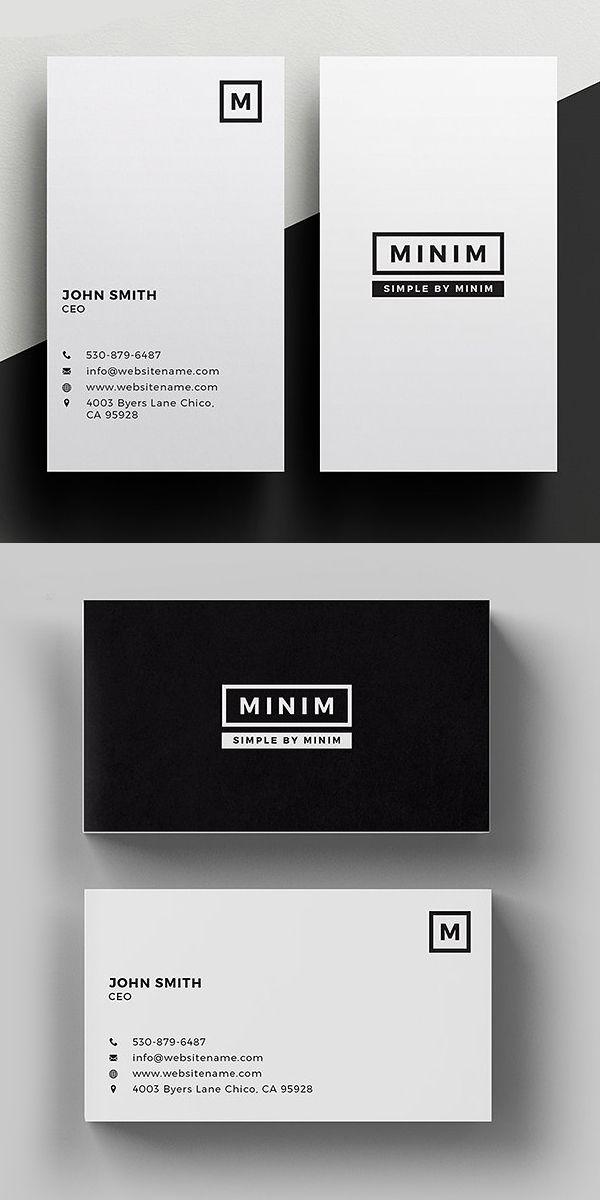 Minim - Simple Clean Business Card #minimaldesign #businesscard ...