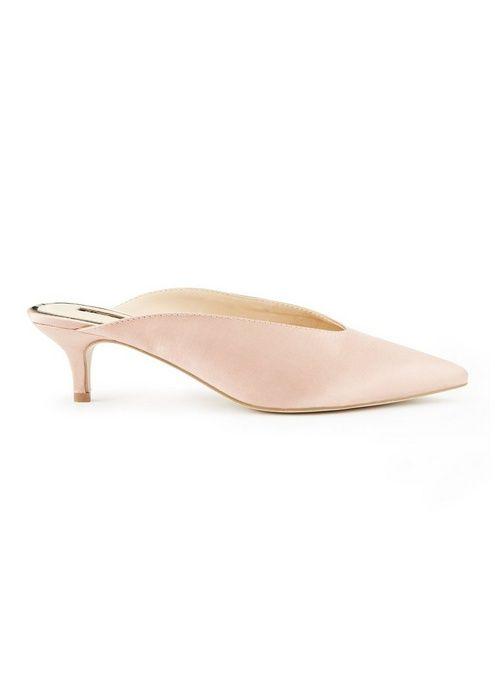 90c9716e1e5 Womens LOLA Satin Pointed Toe Kitten Heel Mules