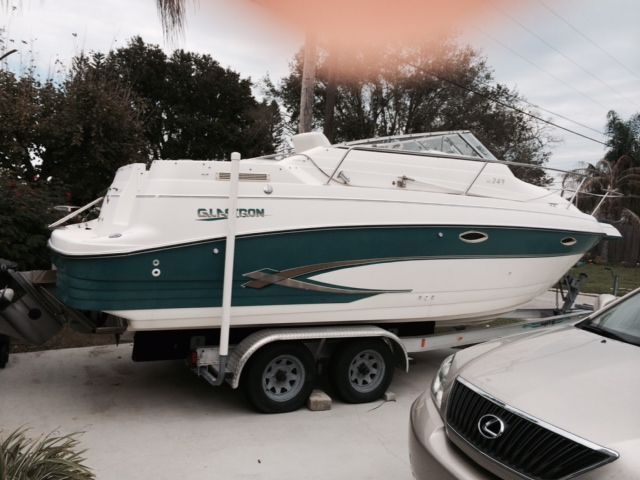 24 Feet 1997 Glastron Galstron 247 Cuddy Cabin White And Teal For Sale In Melbourne Fl Boats For Sale Power Boats For Sale Power Boats