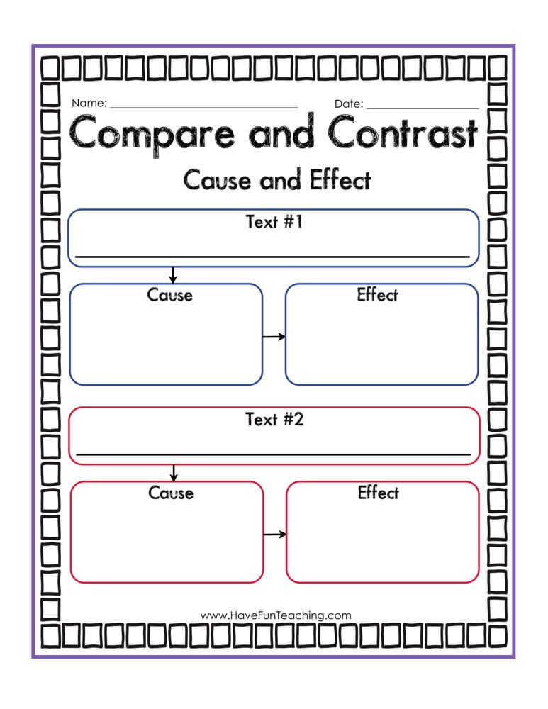 Compare And Contrast Cause And Effect Graphic Organizer Worksheet Graphic Organizers Reading Worksheets Cause And Effect