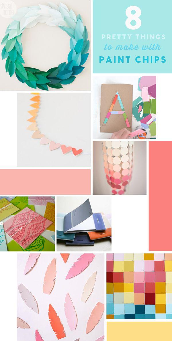 Rainbow Pom Pom Diy Paint Chip Crafts Paint Samples Crafts