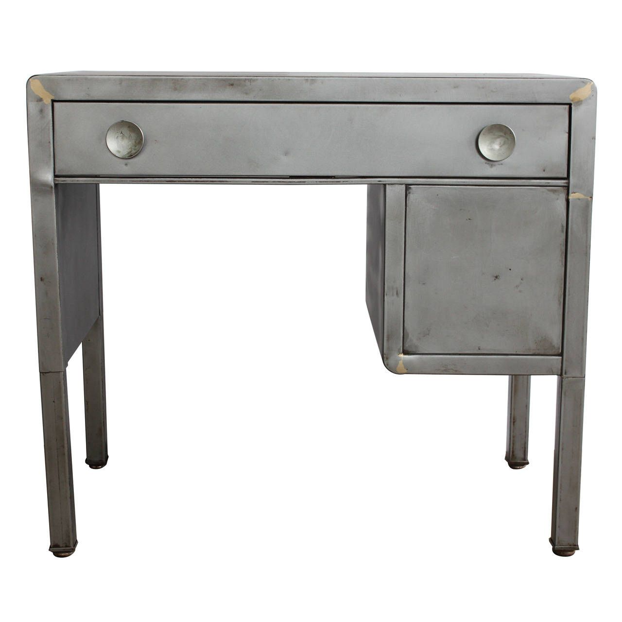 Vintage Industrial Metal Desk by Norman Bel Geddes - Vintage Industrial Metal Desk By Norman Bel Geddes Metal Desks
