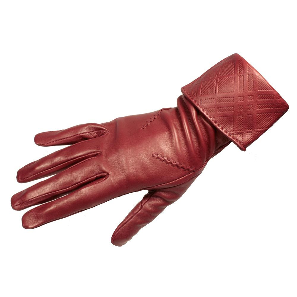 Womens colored leather gloves - Burberry Womens Leather Gloves Emily Embossed Material Lamb Skin Color Bright Burgundy Details Check Leather Embossing On Cuff 5045318833808