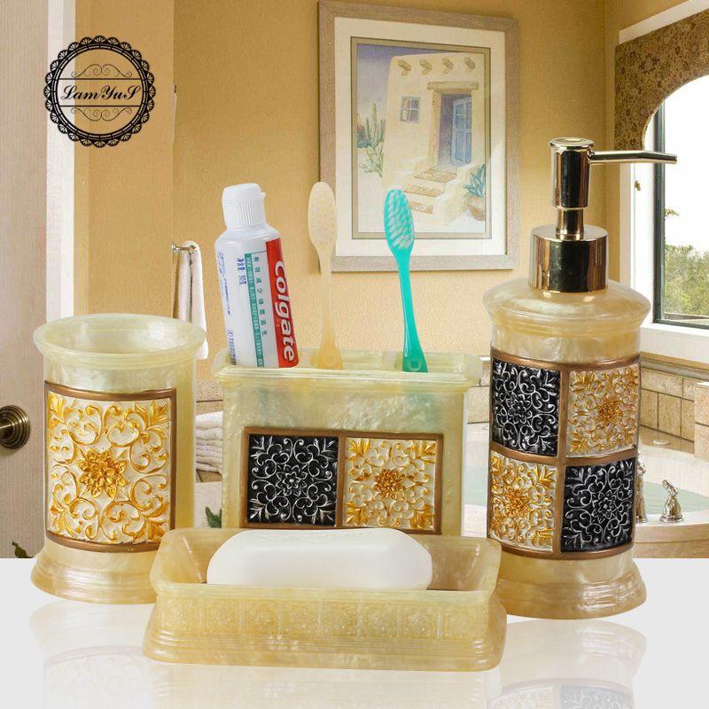 Europen Style Resin Bathroom Set Five Piece Wash Set Bathroom Simple Bathroom Accessories Sets Decorating Design