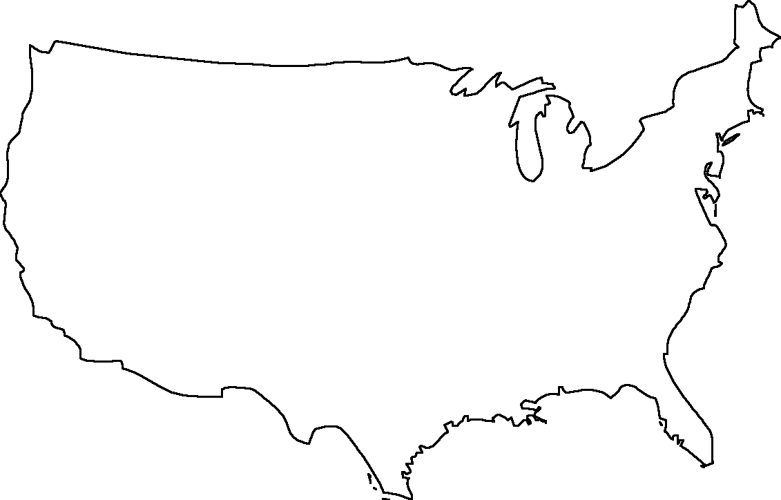 Line Drawing United States : Geography outline maps united states blank map of
