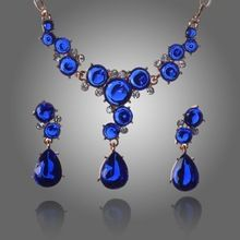 2014 Hot selling Multicolor Crystal with 18k Gold Plated Wedding Jewelry Sets for brides Fashion Jewelry set Free Shipping(China (Mainland))