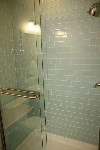 Glass Subway Tile Shower Idée Salle, Glass Subway Tile Bathroom