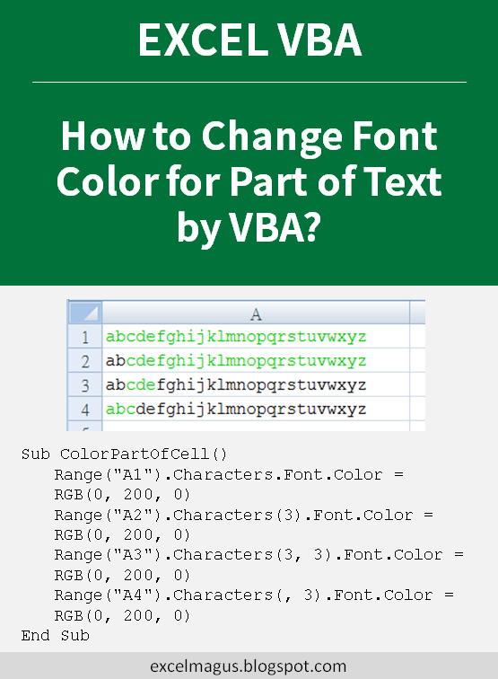 How to Change Font Color for Part of Text by VBA? | Computer
