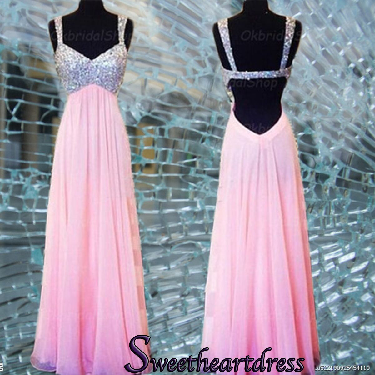 Sparkly straps prom dress, open back pink chiffon prom dress for ...