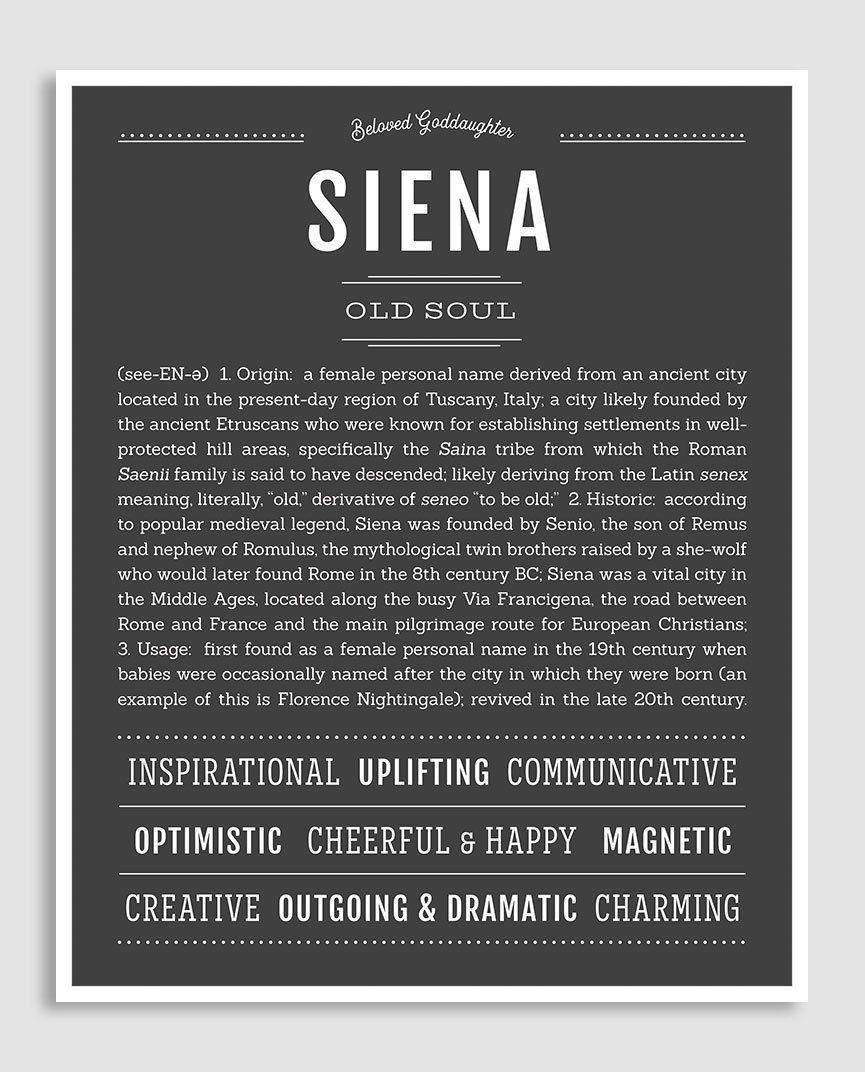 Siena   Classic Name Print   Baby Names   Classic names, Names, Name art