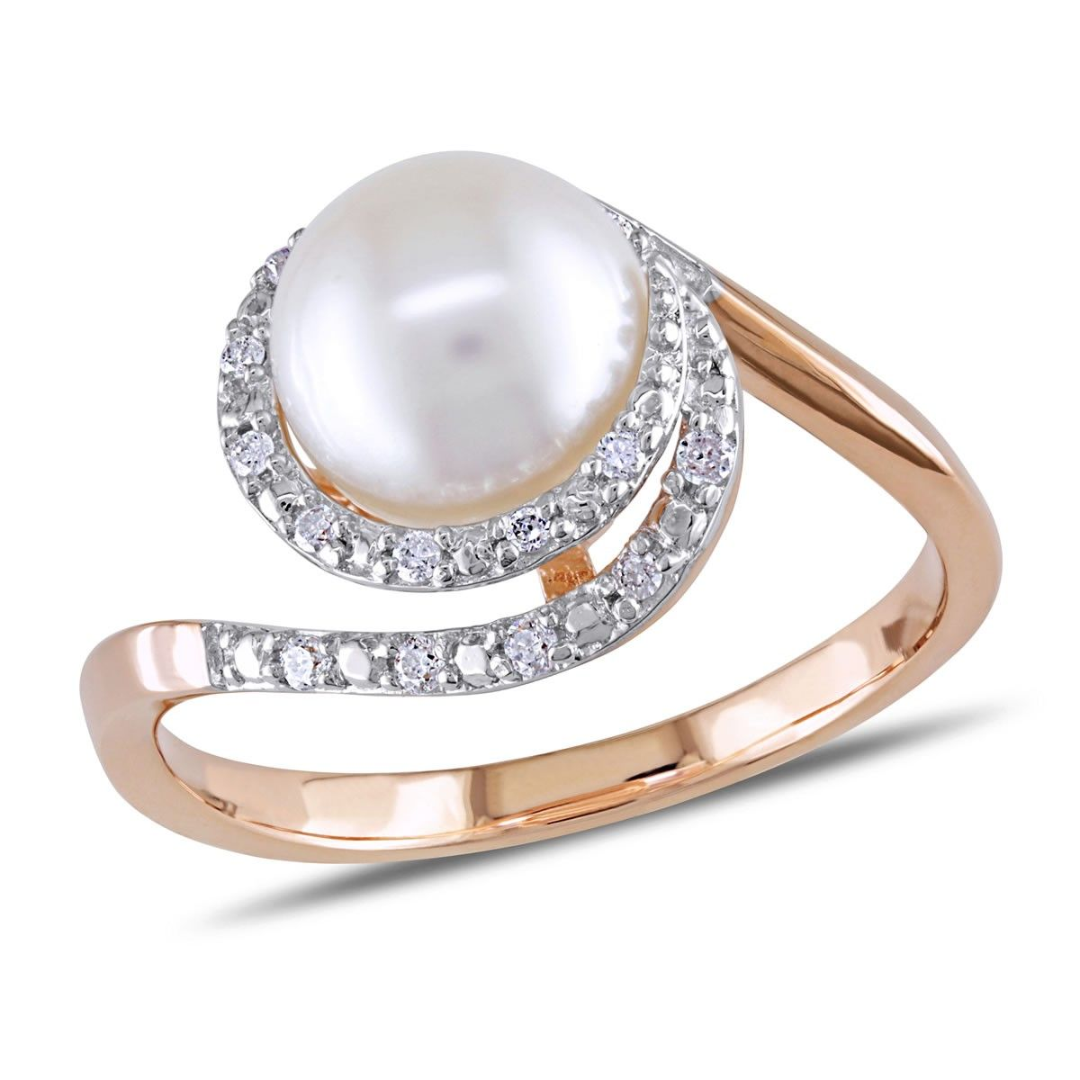 Rose Gold, Diamond & Fresh Water Pearl Ring   Andrews Jewelers