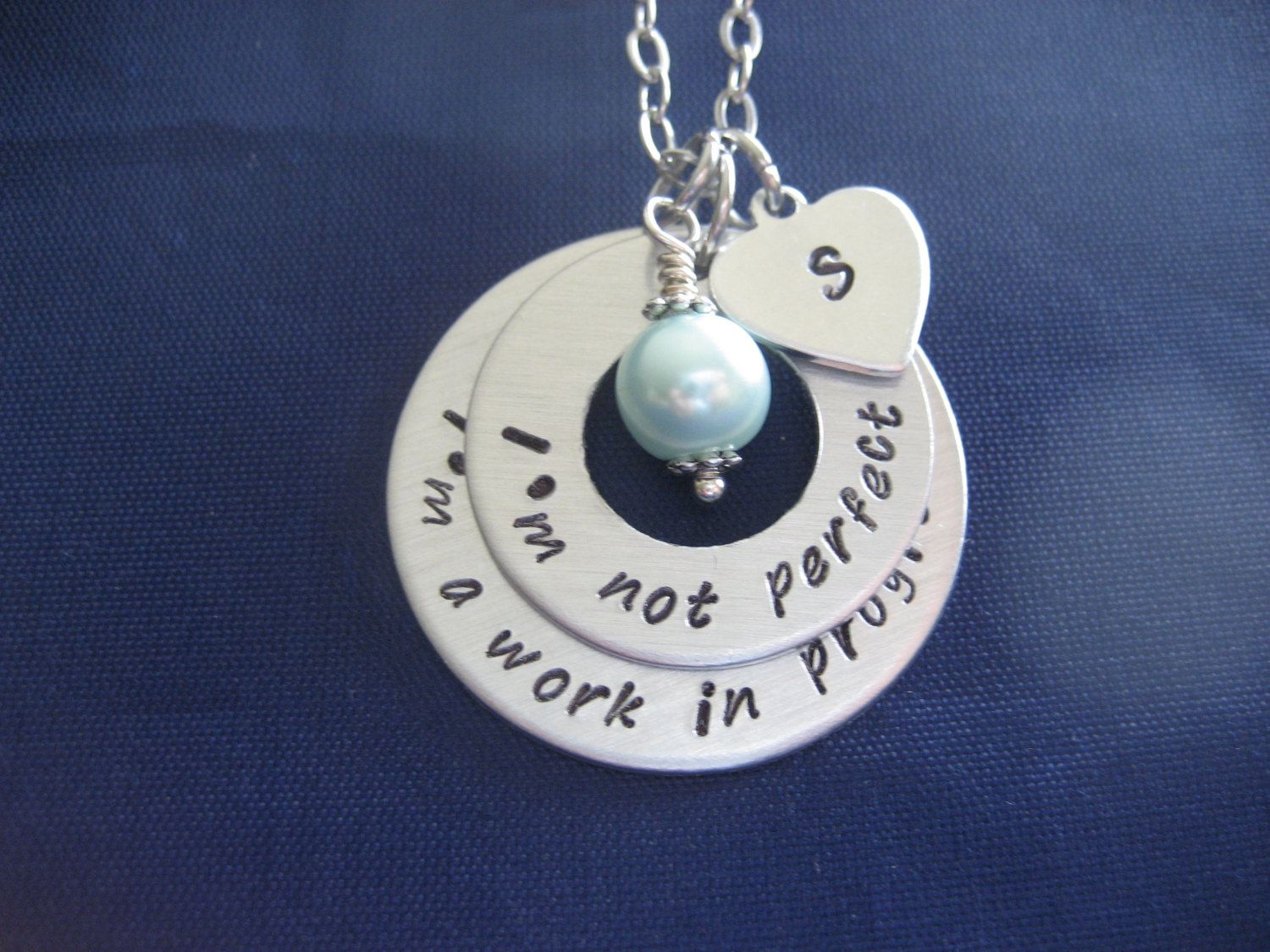 I'm Not Perfect, I'm a Work in Progress Hand Stamped Stacked Washer Necklace - Personalized Initial Necklace by TheVerseWithin on Etsy