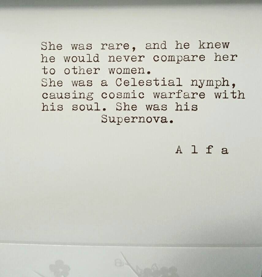 """Typed poem on 5""""x4"""" stationary """"She was his Supernova..."""" -by Poet Alfa by…"""