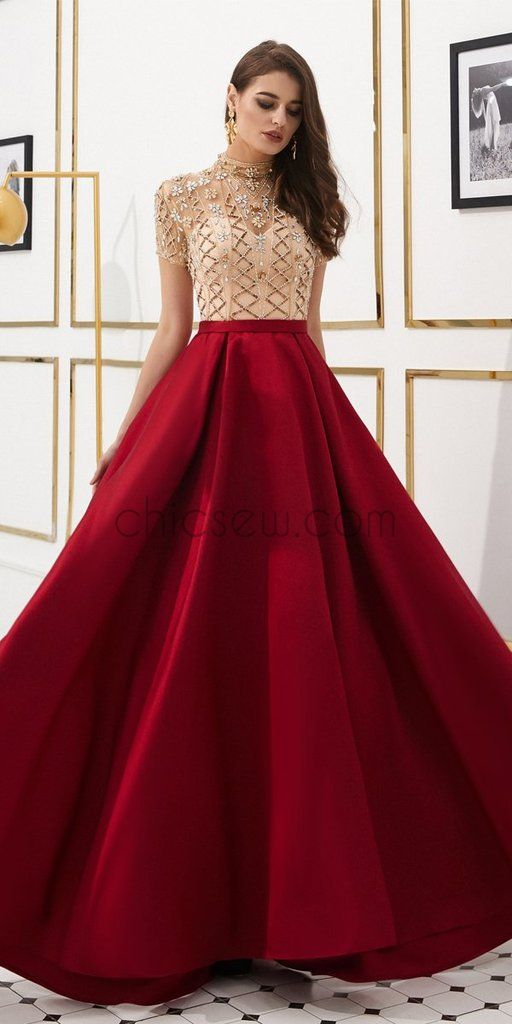 Elegant A-line Satin High Neck Beaded 1/4 Sleeves Prom Dress, YKX033