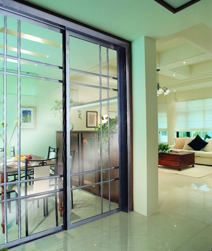 China Soundproof Partition Sliding Doors With Grass, Internal Aluminum  Metal Room Dividers Factory