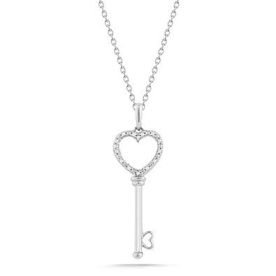 d114d3f57faef Sterling Silver Heart and Key with Diamond-Accent Pendant Necklace ...