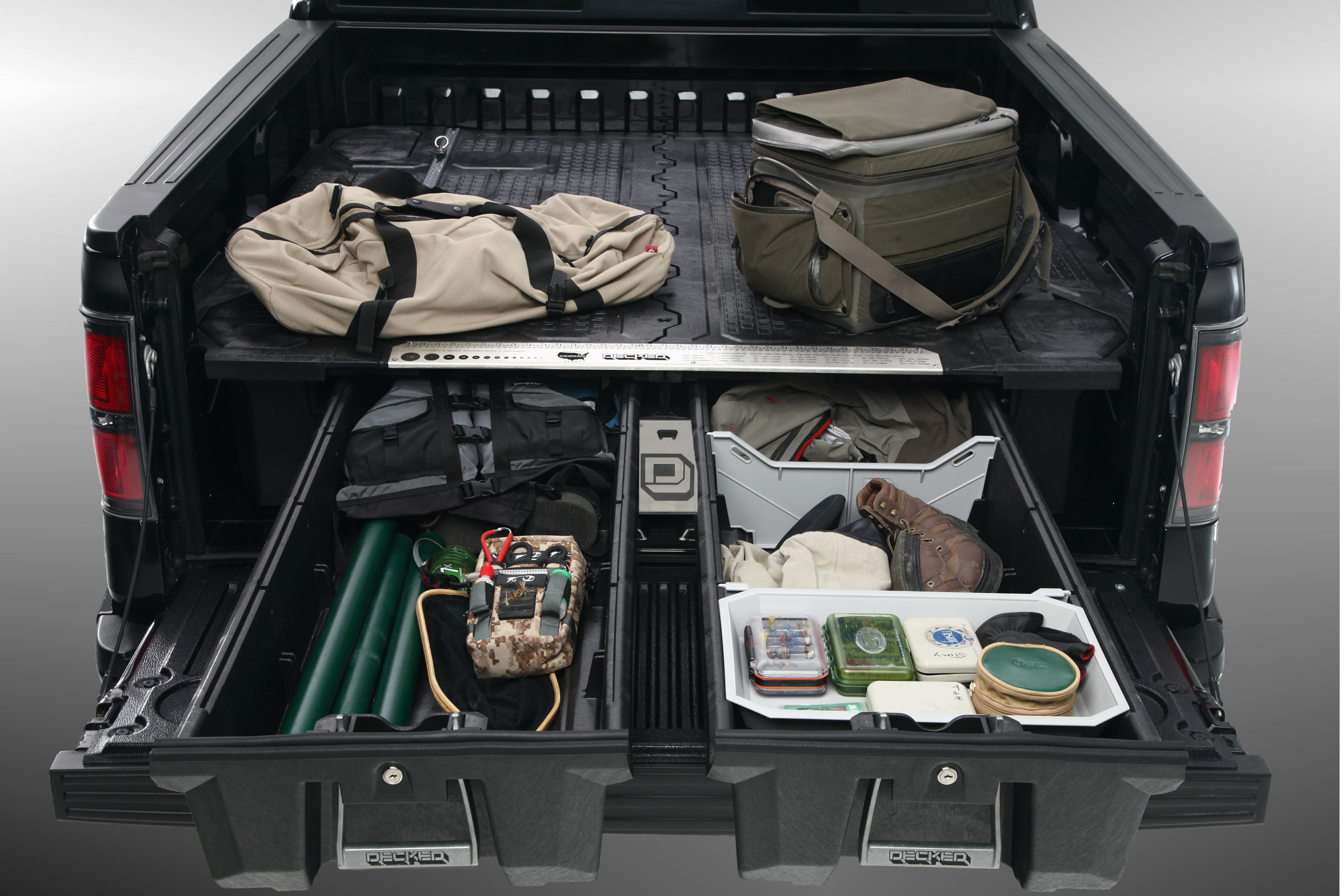 How to organize your fishing gear. Decked truck bed