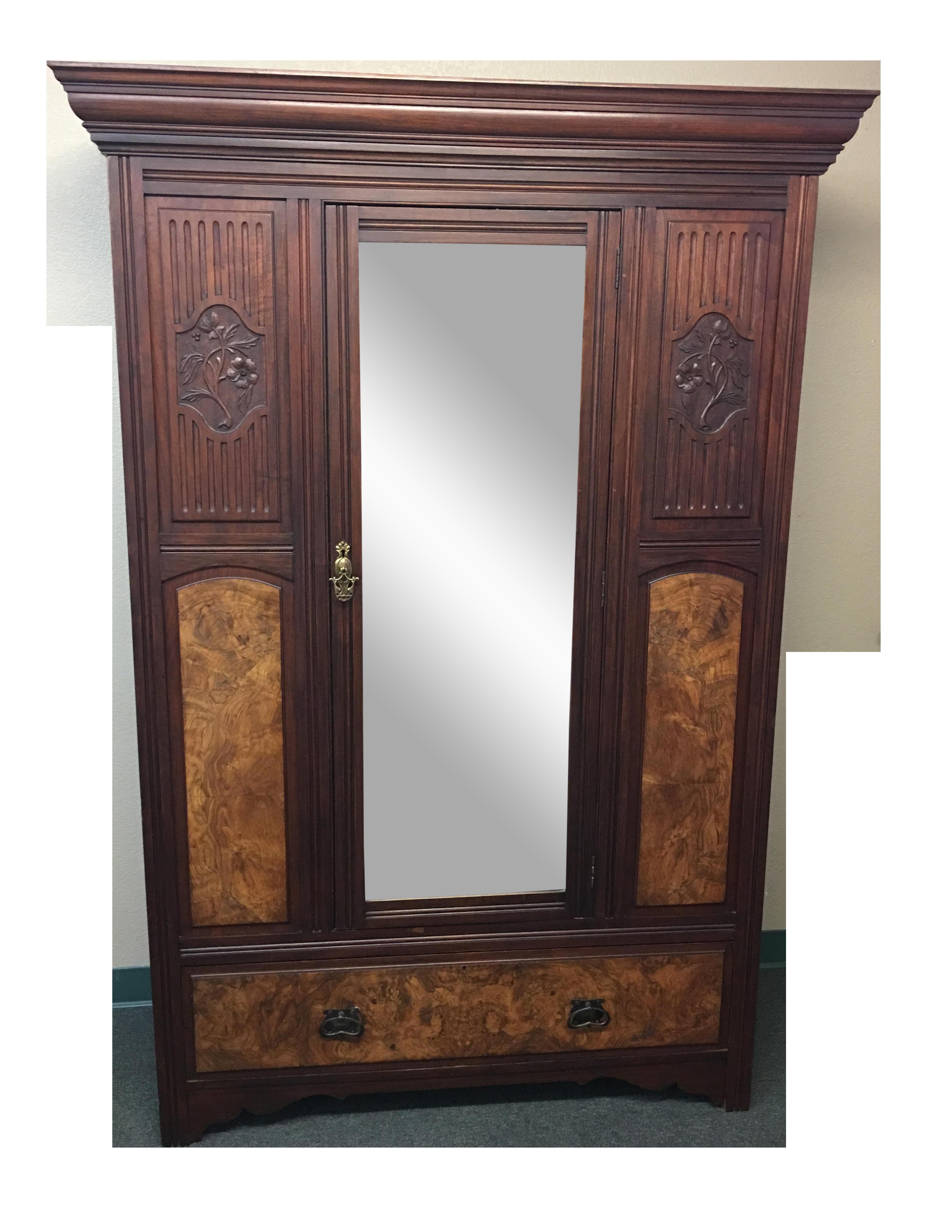 shop italian or mirrored armoire triple walnut mirror antique wardrobe beveled closet