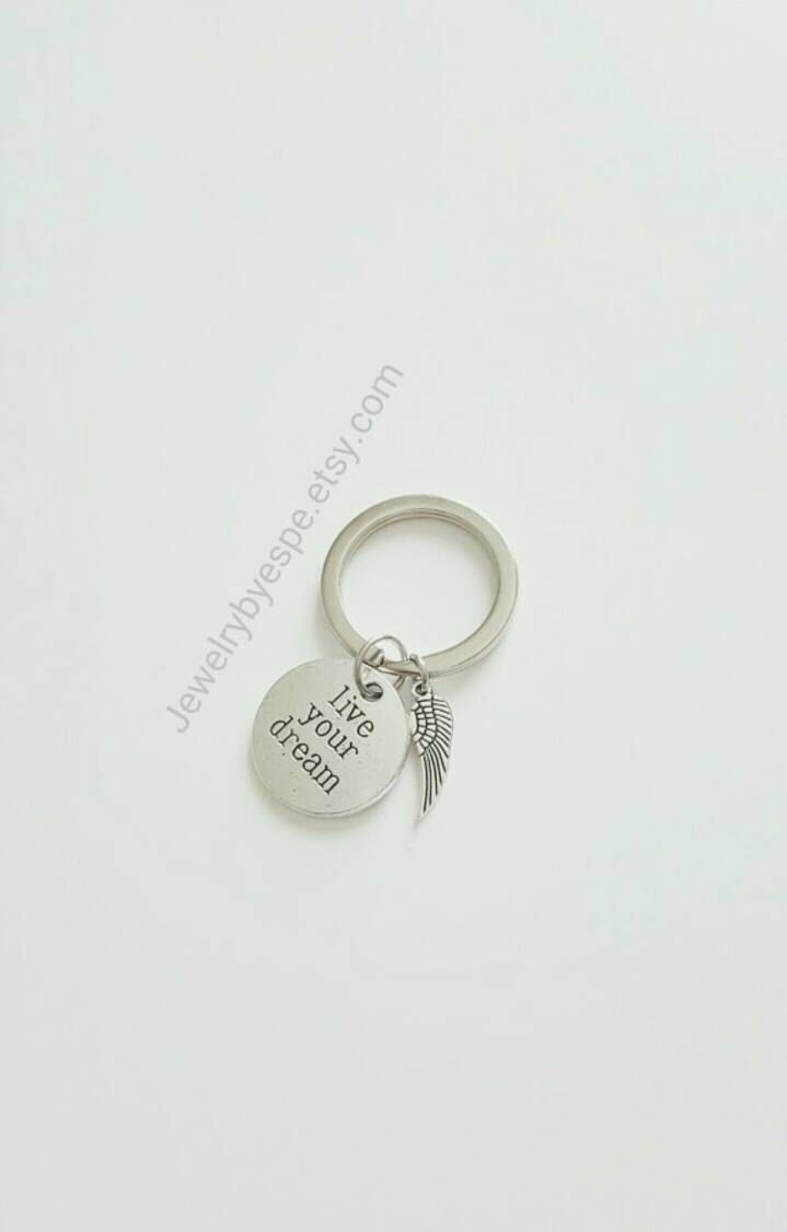 Live Your Dream Keychain Charm Key Chain Angel Wings Keychain ...