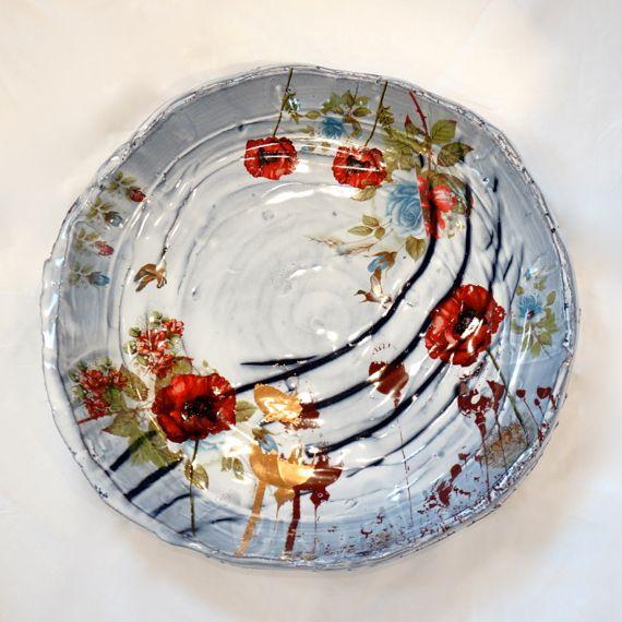 Crimson Laurel Gallery Justin Rothshank Large Plate Ceramic Flowers Ceramic Sculpture Pottery