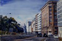 Los Cantones, A Coruña. 154 x 102 cm., acuarela s/papel. Manuel Gandullo
