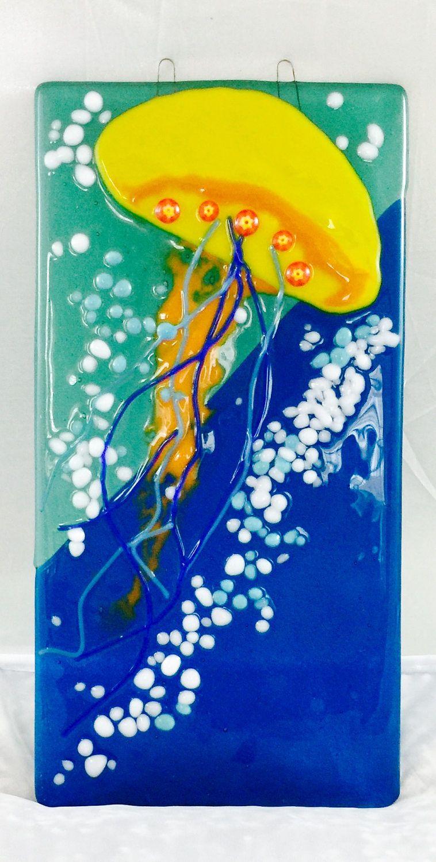 Yellow jellyfish fused glass art nautical beach suncatcher by MountainHoneyrags on Etsy