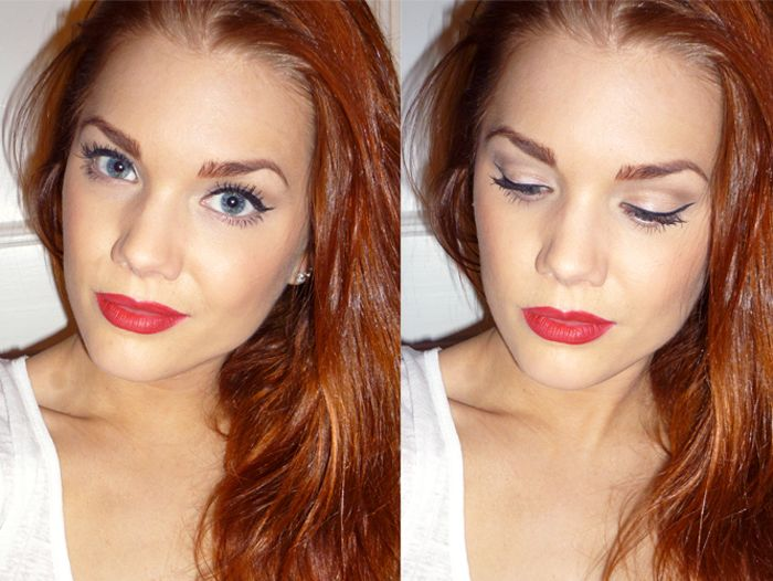 Linda Hallberg - classic makeup look - light on the eyes, red lips.. Hair color?